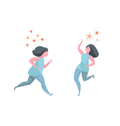 running active happy healthy woman vector image