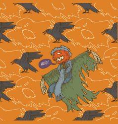 scarecrow for halloween with crow vector image