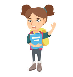 Schoolgirl holding a book and waving her hand vector
