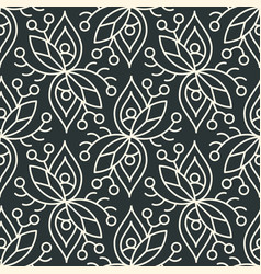 Seamless linear minimalistic flower pattern on vector