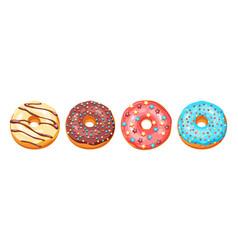 set glaze donuts and sprinkles vector image