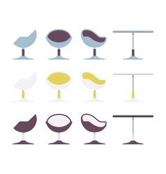 Set of cafe table and chair vector