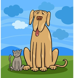 small cat and big dog cartoon vector image