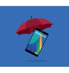 Smartphone protection insurance with red umbrella vector