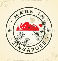 Stamp with map flag of Singapore vector