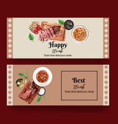 Steak banner design with spaghetti vector