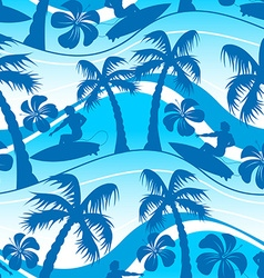 Surfer with palm tree seamless pattern vector