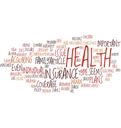 the important of health insurance text background vector image
