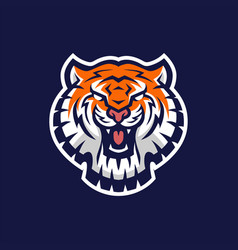 tiger head e sport logo icon vector image