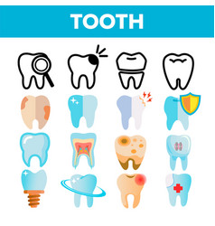 tooth icon set dental draphic oral vector image