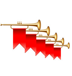 trumpets with red flags isolated on white vector image