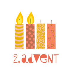 Two burning advent candles vector