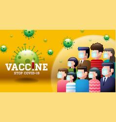 Vaccine stop covid-19 mask social distancing vector
