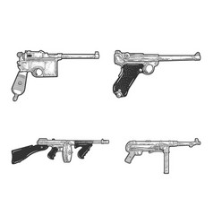 weapons historical set sketch vector image
