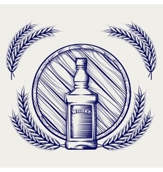 Whisky bottle barrel and wheat sketch vector image