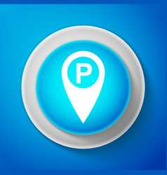 white map pointer with car parking sign isolated vector image