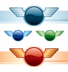 wings buttons vector image