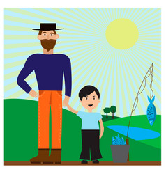 with dad and son after a vector image