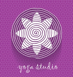 Yoga logo Flower shaped logotype on floral pattern vector image