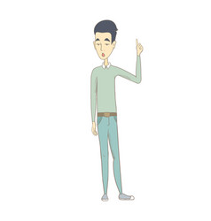 Young asian man with open mouth pointing finger up vector