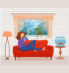 young woman reading book sitting on armchair vector image