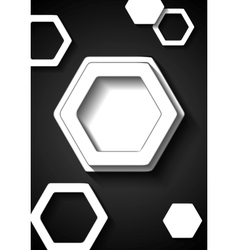Abstract black and white tech background vector image vector image