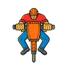Construction worker jackhammer mono line art vector