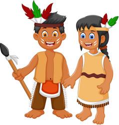 funny couple indian tribal cartoon vector image