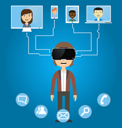 men communicate with friends using virtual vector image