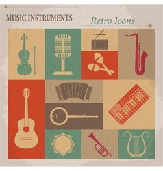 Musical equipment Retro icons vector image vector image