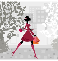 urban shopping girl vector image vector image