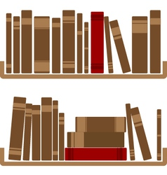 Different red Books On shelf vector image
