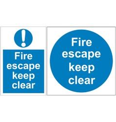Fire escape signs vector image