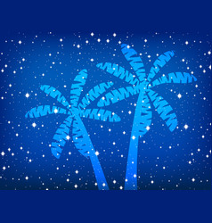 Palms and stars night background vector