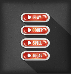 play buttons design in multiple languages for vector image