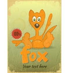 Vintage retro Card with Cartoon Fox vector image vector image