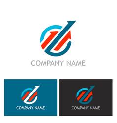 arrow progress up logo vector image