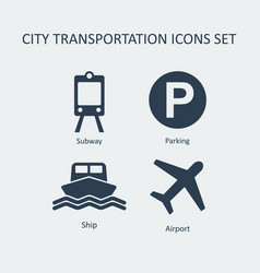 city transportation silhouette icons set vector image vector image