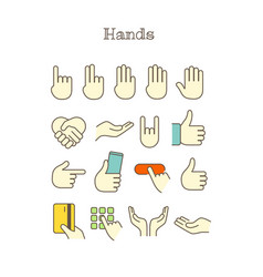 different thin line color icons set hands vector image vector image
