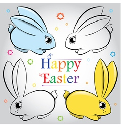 Easter set of rabbits Contour and painted vector image vector image