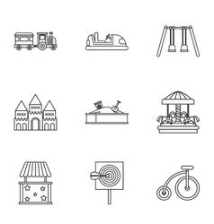 Entertainment for children icons set vector