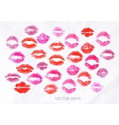 Set lipstick kiss vector image