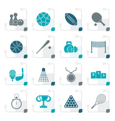 stylized sport equipment icons vector image vector image