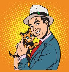 avatar portrait man with a kitten vector image