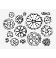Hand-drawn vintage gears cogwheel Sketch vector image