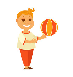 redhead boy plays with colorful ball isolated vector image vector image