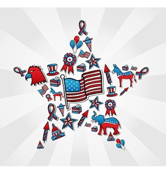 USA elections icon set in star vector image vector image