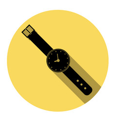 watch sign flat black icon vector image