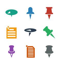 9 thumbtack icons vector