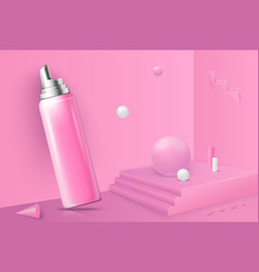 Abstract scene with podium and foam bottle vector